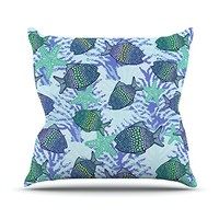"Kess InHouse Julia Grifol ""My Colorful Fishes"" Blue Teal Throw Pillow, 16 by 16-Inch"