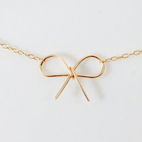 14k Gold Filled Bow Necklace - delicate handmade necklace, from Made By Maru