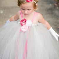 Toddler Flower Girl Tutu DressSilver Gray and by BellaBeanCouture