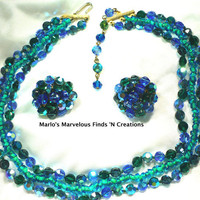 Exquisite Designer Les Bernard Necklace &amp; Earrings Blue Green AB Crystal MultiStrand Bridesmaid Prom Formal