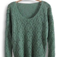 Round Neck Long Sleeve Green Sweater S002365