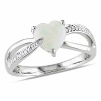 7.0mm Heart-Shaped Opal and Diamond Accent Ring in Sterling Silver