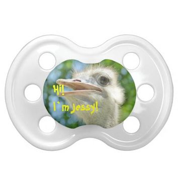 Funny Ostrich - Personalized Baby Name Pacifier