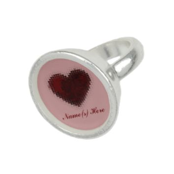 Tiled Mosaic Heart (Deep Red) Photo Rings