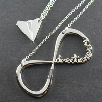 Sale--INFINITY One Direction,forever Directioner &amp; Paper airplane necklace Harry Styles Charm