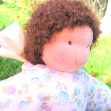 Beautiful handmade doll. Waldorf antroposophic doll. Perfect for playing and cuddling.