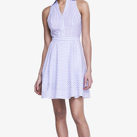 POPLIN FIT AND FLARE SHIRT DRESS - STRIPE from EXPRESS
