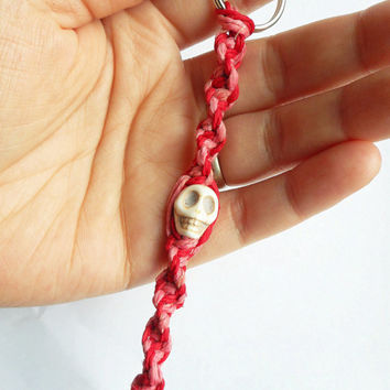 Pink and Red Hemp Keychain with Skull Bead,ready to ship.