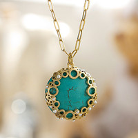 N0022 // Bubble Turquoise Necklace // Vintage, Everyday Jewelry, Mother&#x27;s Day Gift
