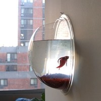 Wall Mount Hanging Beta Fish Bubble Aquarium Bowl Tank -...