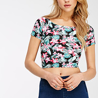 Tropical Floral Crop Top
