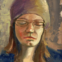 Original portrait study. 9x12 inches Oil on canvas board. Art by Brandy Cattoor. neutrals, texture, blue, purple, brown,