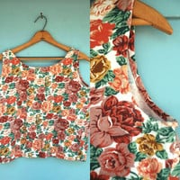 1990s. floral boxy crop tank. s-l
