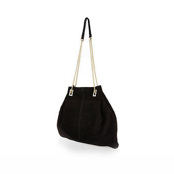 River Island Womens Black suede chain handle shoulder bag