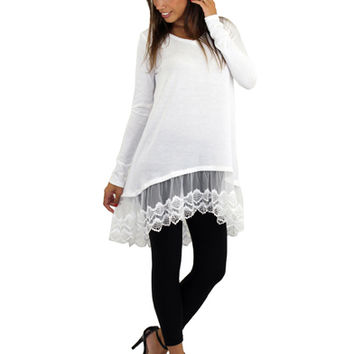 Ivory Lace Tunic Top