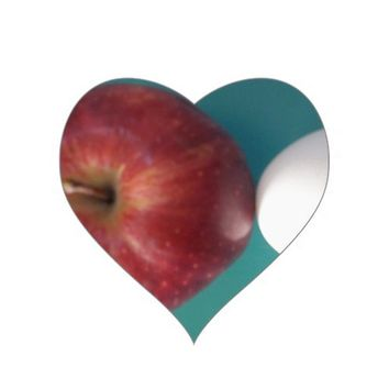 Twin Egg red apple for a pie Heart Stickers.