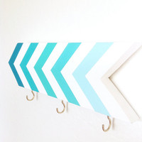 Wall hook - chevrons - turquoise blue aqua ombre - organization - foyer - pretty home decor - arrow - stripes - Mothers Day gift