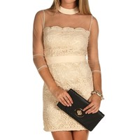 Promo-Ivory Illusion Lace Dress