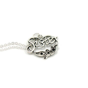 Sister Necklace, Charm Necklace, Charm Jewelry, Antique Silver Sister Necklace, Silver Sister Jewelry, Jewelry Gift, Gift Under 20