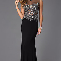 Floor Length Open Back Dress with Illusion Bodice