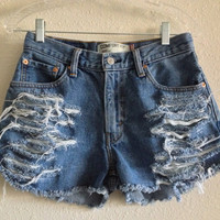 High Waisted Distressed Levi&#x27;s Shorts (Size 28)