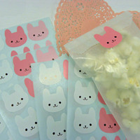 Stickers Pink and white Bunnies Self adhesive Envelope seals Labels Qty 72