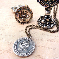 Rose wax seal jewelry necklace pendant victorian style handmade from recycled fine silver