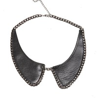 Leather Chain Collar Necklace - 178055