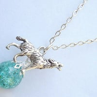 Howling Wolf Green Crackle Glass Marble Necklace