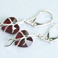 Swarovski Small Heart Earrings Crystal Red Autumn Jewelry