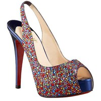 Christian Louboutin Jeweled platform slingback - &amp;#36;219.00