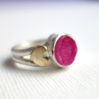 Pink Druzy in Heavy Sterling Silver Ring with Brass Hearts