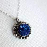 Blue Drusy Pebble Pendant