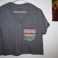Tribal Print Pocket Tee (Gray)