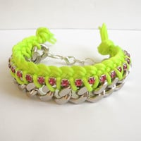 Neon yellow fluorescent Braided Chain Bracelet, pink rhinestones,satin cord