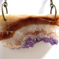 Druzy Amethyst Crystal Quartz Asymmetrical Bar Slice Necklace by AstralEYE