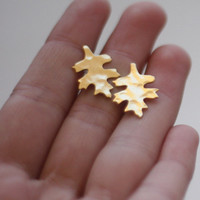 Golden Hammered Leaf Post Earrings- Handmade- Free Shipping- Ready to Ship
