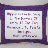 Cross Stitch Pillow, Purple Pillow, Albus Dumbledore Quote, Harry Potter Cross Stitch