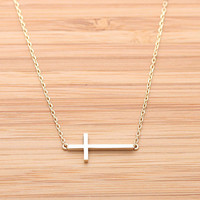SIDEWAYS CROSS necklace, 2 colors(plated, 925sterling) | girlsluv.it - handmade jewelry collection, ETSY, Artfire, Zibbet, Earrings, Necklace