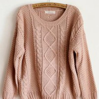 Pretty Round Neck Pink Sweater  S001631