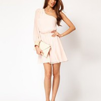 ASOS One Shoulder Dress with Sequin Cuff at asos.com