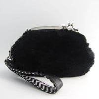 Frame Purse with strap- Black soft fur