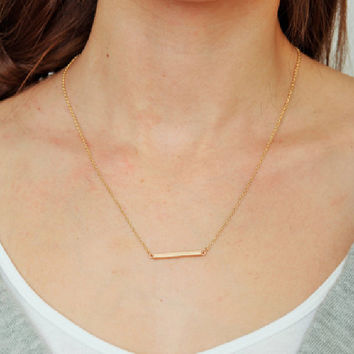 Gold Bar Necklace by KnitPopShop - Default Title / Gold / 18 inches