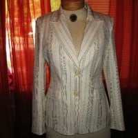 COTE FEMME JACKET WHITE WITH BLACK PINSTRIPES LINED ! SIZE 10