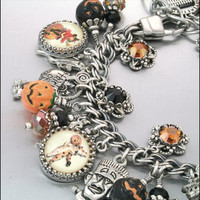 Halloween Jewelry, Silver Charm Bracelet, Halloween Charm Bracelet, Pumpkin Jewelry