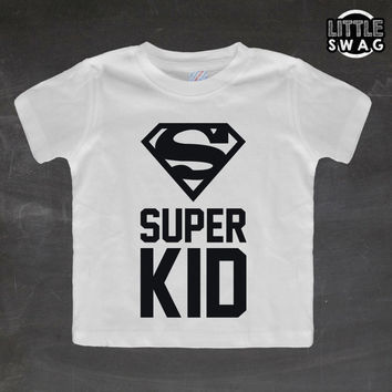 Super Kid (white shirt) - toddler apparel, kids t-shirt, children's, kids swag, fashion, clothing, super hero shirt, nerdy kids shirt,