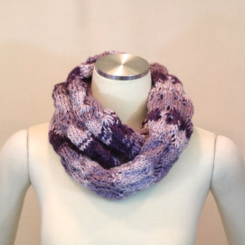 Purple Infinity Scarf - Lavender Circle Cowl - Lilac Ombre Neck Warmer - Chunky Infinity Loop Scarf Snood