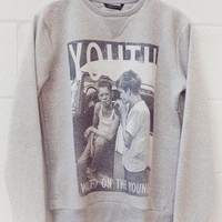 Criminal Damage Youth Sweater Grey Marl