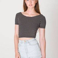 Stripe Cotton Spandex Jersey Crop Tee | Crop Tops | Women&#x27;s Tops | American Apparel