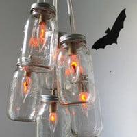 Halloween Mason Jar Chandelier Mason Jar Light Rustic by BootsNGus